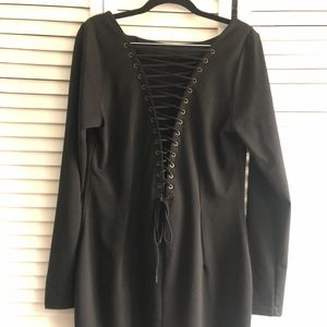 BB Dakota Lace Up Black Dress